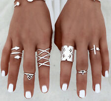 8pcs/Set Adjustable Women Bohemian Silver Rings Above Knuckle Rings Set Gift