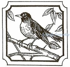 ROBIN BIRD NOTCHED SQUARE FRAME Wood Mounted Rubber Stamp NORTHWOODS CC9981 New