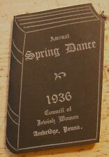 1936 COUNCIL OF JEWISH WOMEN ANNUAL SPRING DANCE-Ambridge,Pa ADVERTISING BOOKLET