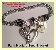 Religious Jewelry Mustard Seed Charm Bracelet Heart Silver with Tablet Scripture