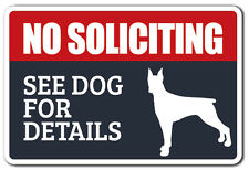 NO SOLICITING SEE DOG FOR DETAILS Novelty Sign dog animal warning funny gift