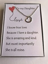 Sterling silver Love heart necklace w/ love poem for your daughter.