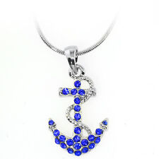 "Stunning Blue Color Anchor Shape Pendant with Crystals and 16"" Snake Chain"