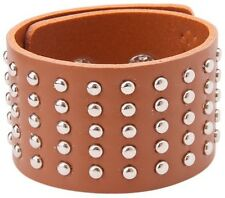 BROWN LEATHER RIVET WRISTBAND WRIST STRAP BRACELET CUFF STEAMPUNK MENS WOMENS