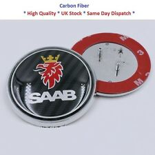 NEW CARBON FIBER SAAB BONNET FRONT BADGE 68MM FITS SAAB 93 9-3 2003-2010 BLACK