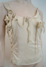 EMPORIO ARMANI Cream 100% Silk Floral Detail Sleeveless Cami Top IT44; UK12