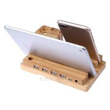 Bamboo Wood Charging Stand 4USB Port Charger Mount Holder For Apple iWatch Phone