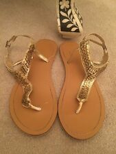 Accessorize Shoes sandals flip flops cubed thong metal gold metallic size UK 5