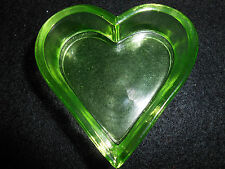 Green Vaseline Uranium glass heart salt dip cellar celt yellow poker card euchre
