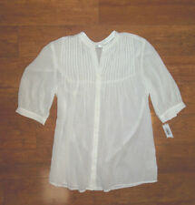NWT VINCE. WOMENS BLOUSE WHITE SHORT SLEEVE FRONT PLEATS SHEER SIZE SMALL
