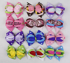 "wholesale 12pc 4"" girl kids baby  boutique  ribbon hair bows clip hairpins-601"