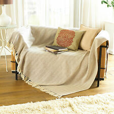 Country Club Como Cotton Throw 170 x 200cm Natural Cream Sofa Bed Cover Large