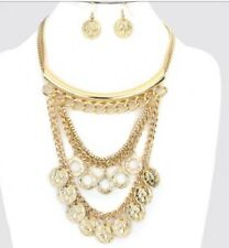 Swag Roman Gold Coin Link Chain Multi Strand Layered Egyptian Metal Necklace Set