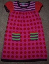 EUC Hanna Andersson Pink/RED POLKA DOTS Sweater Dress 110 4/5 STRIPED POCKETS