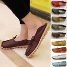Womens Leather Slip on Comfort Casual Walking Bowed Flat Shoes Loafers Moccasin