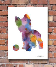 YORKSHIRE TERRIER Contemporary Watercolor ART Print by Artist DJR