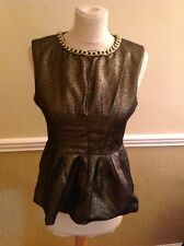 STUNNING VERA & LUCY GOLD & BLACK SHIMMER TOP WITH CHAIN NECKLINE UK SIZE10 WORN