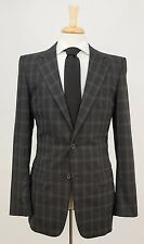 $2095 GUCCI Dark Gray Plaid Check Wool Blend Dual Vent Jacket Blazer 36 38 L