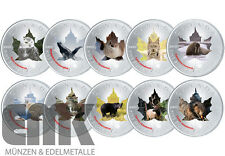 "Canada-Maple Leaf ""Wildlife-II SERIE"". in set di colore - 10 x 5 dollari 2015"