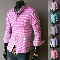 New Luxury Shirts Men Casual Formal Slim Fit Shirt Top S M L XL COTTON+POLYESTER
