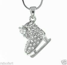 "W Swarovski Crystal Charm ICE SKATING Figure 18"" Chain Necklace Gift"