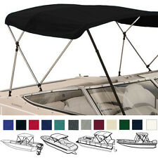 "BIMINI TOP BOAT COVER BLACK 3 BOW 72""L 54""H 73""-78""W - W/ BOOT & REAR POLES"