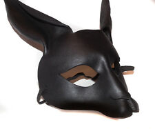 Black Rabbit Bunny Mask Handmade Leather Venetian Masquerade