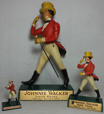 VHTF COLLECTIBLE JOHNNIE WALKER SET OF THREE PLASTIC STATUES