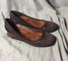 WOMENS LUCKY BRAND WEDGE SLIP ON SHOES SZ 11 brown leather upper mary jane style