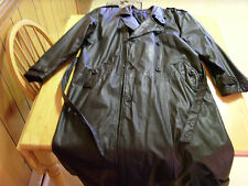 VTG MENS WEAR ME OUT BLACK LEATHER ALL WEATHER WINTER RAIN TRENCH LONG COAT, XL