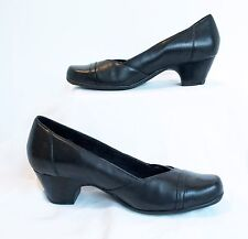 Clark's Everyday Active Air Black Leather Women's Shoes Heels Size 10 Sugar Sky