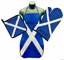 Scotland St. Andrews Cross Flag Kitchen & BBQ Set w Apron Oven Mitt & Pot Holder