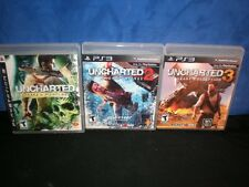 PS3 UNCHARTED 1 2 3 Drake's FORTUNE DECEPTION AMONG THIEVES Trilogy set