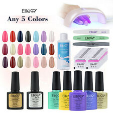 Pick 5 Colors Elite99 UV Nail Polish Gel Remover Wraps 6W LED Lamp Starter Kit