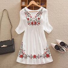 Fashion Women's Summer Casual White Floral A-linen V-neck Short Mini Dress Shirt