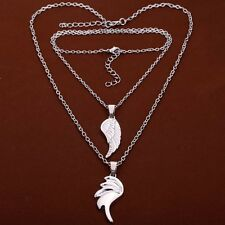 Fashion Couple Necklaces Silvery Wing Angel Demon Love Pendant Crystal Inlay