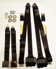 VINTAGE STYLE 3 POINT RETRACTABLE SEAT BELTS FORD MUSTANG TORINO COUGAR BLACK