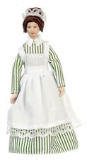Dollhouse Miniature Doll - Maid Green Stripe Dress Porcelain 1:12 Scale