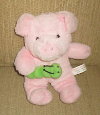"Pink Pig Plush Toy Holding Worm Hugfun Insect Smiling 11"" High Soft"