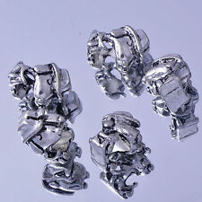 5PCS White Gold Filled/Silver Charms head of  horse Beads Fit European DIY