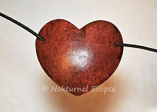 SMALL Mahogany Heart-Shaped Leather Eye Patch Steampunk Pirate Halloween UNISEX