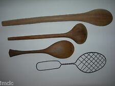 "Vintage 3 Wooden Spoons~18"" Country Primitive Large Wood Spoon laddle&Wire Spoon"