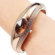 Fashion Golden Oval Quartz Watch Lady Cuff Bangle Bracelet Wristwatch Elegant