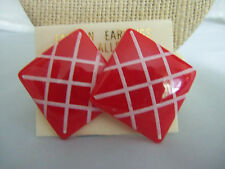 "1"" Square Red and White Plastic Economical Fashion Earrings"