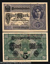 GERMANY 5 MARKS 1917 EURO UNC YOUNG GIRL LOAN CURRENCY MONEY BILL NOTE Free Ship