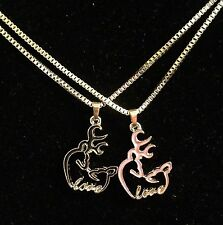 His Her Buckmark Love Necklaces 2 PC Set NEW! Browning Deer Pink Black Country