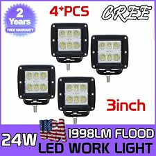 4X 24W 3Inch CREE LED Pod Lights For Truck Jeep ATV 4WD Suv Off-road Flood Beam