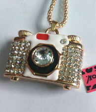 "Camera Pendant Necklace by Betsey Johnson 28"" White & Gold with Rhinestones"