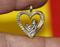 a  10K yellow white GOLD PENDANT MOTHER & CHILD baby mom Heart DIAMOND charm