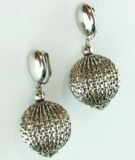 VINTAGE SILVER TONE CLIP ON EARRINGS ROUND BALL DISCO  DANGLE DROP
